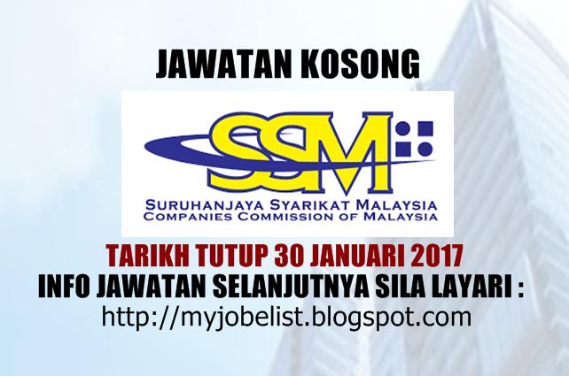 Jawatan Kosong Suruhanjaya Syarikat Malaysia (SSM) Januari 2017