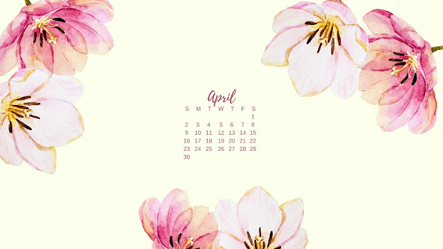 Watercolor Spring Flowers April 2017 Calendar Desktop Wallpaper 3 / www.thejoyblog.net