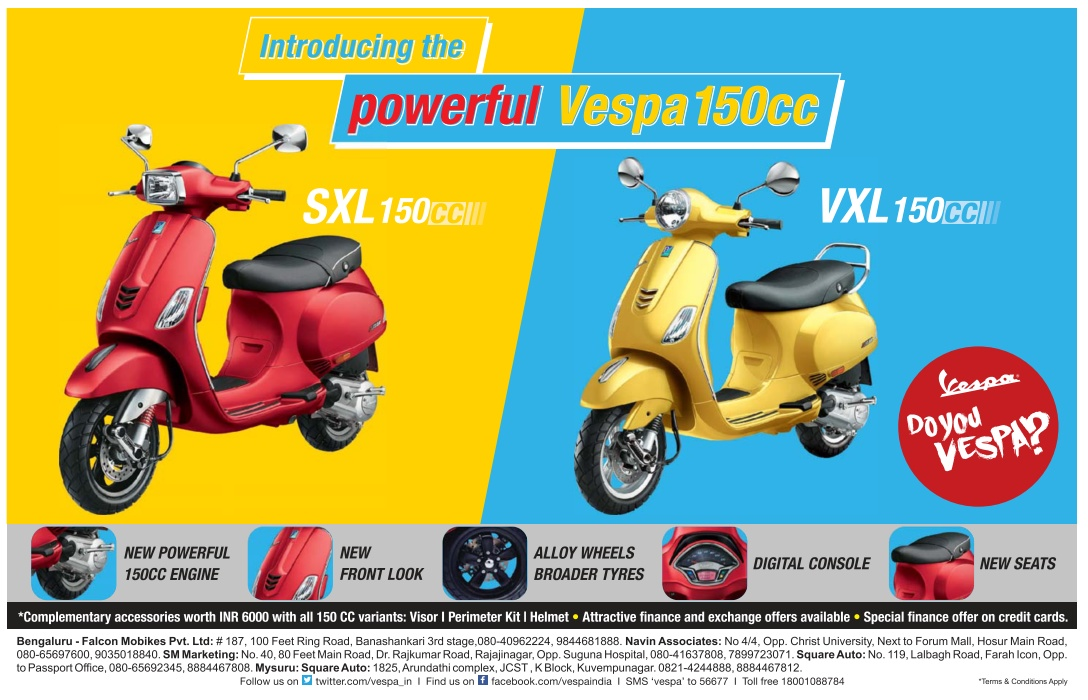 Introducing the powerful Vespa 150cc with amazing offers |  February 2016 discount offers