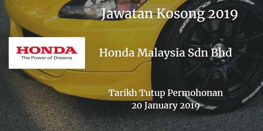Jawatan Kosong Honda Malaysia Sdn Bhd 20 January 2019