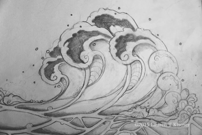 wave sketch ©2015 Lauren T Kistner, graphite