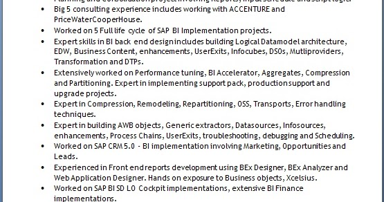 sap epm bpc solutions architect sample resume format in