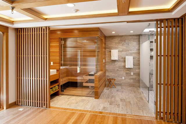 bathroom and sauna design of Chestnut Hill Residence