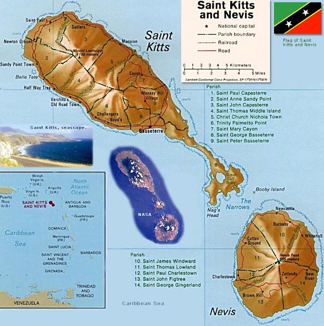 St Kitts Nevis Geographical Kort Over St Kitts Nevis Global