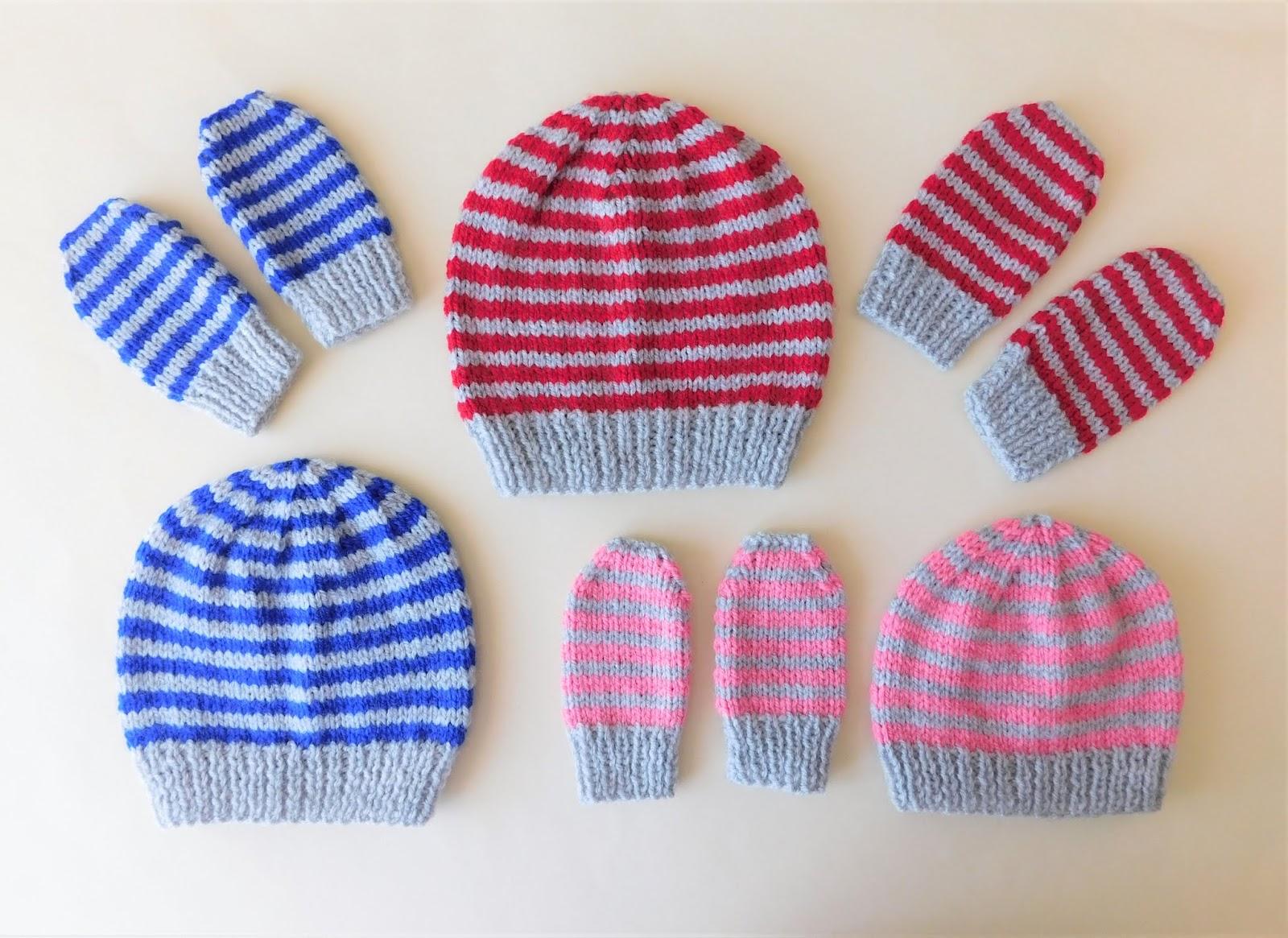 Marianna s Lazy Daisy Days  Simple Stripes Baby Beanie Hat   Mittens fff4382565f4
