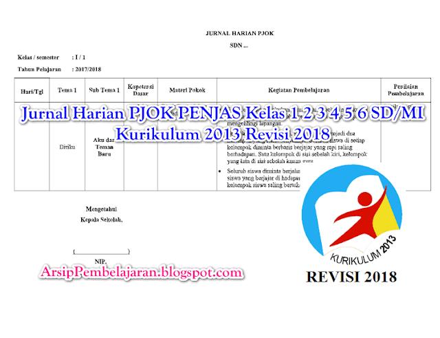 Rpp penjas kelas 2 kurikulum 2013 revisi terbaru 2018 yang coba kami bagikan ini didalamnya dilengkapi dengan ki1, ki2, ki3 dan ki4, dengan. Jurnal Harian PJOK PENJAS Kelas 1 2 3 4 5 6 SD/MI