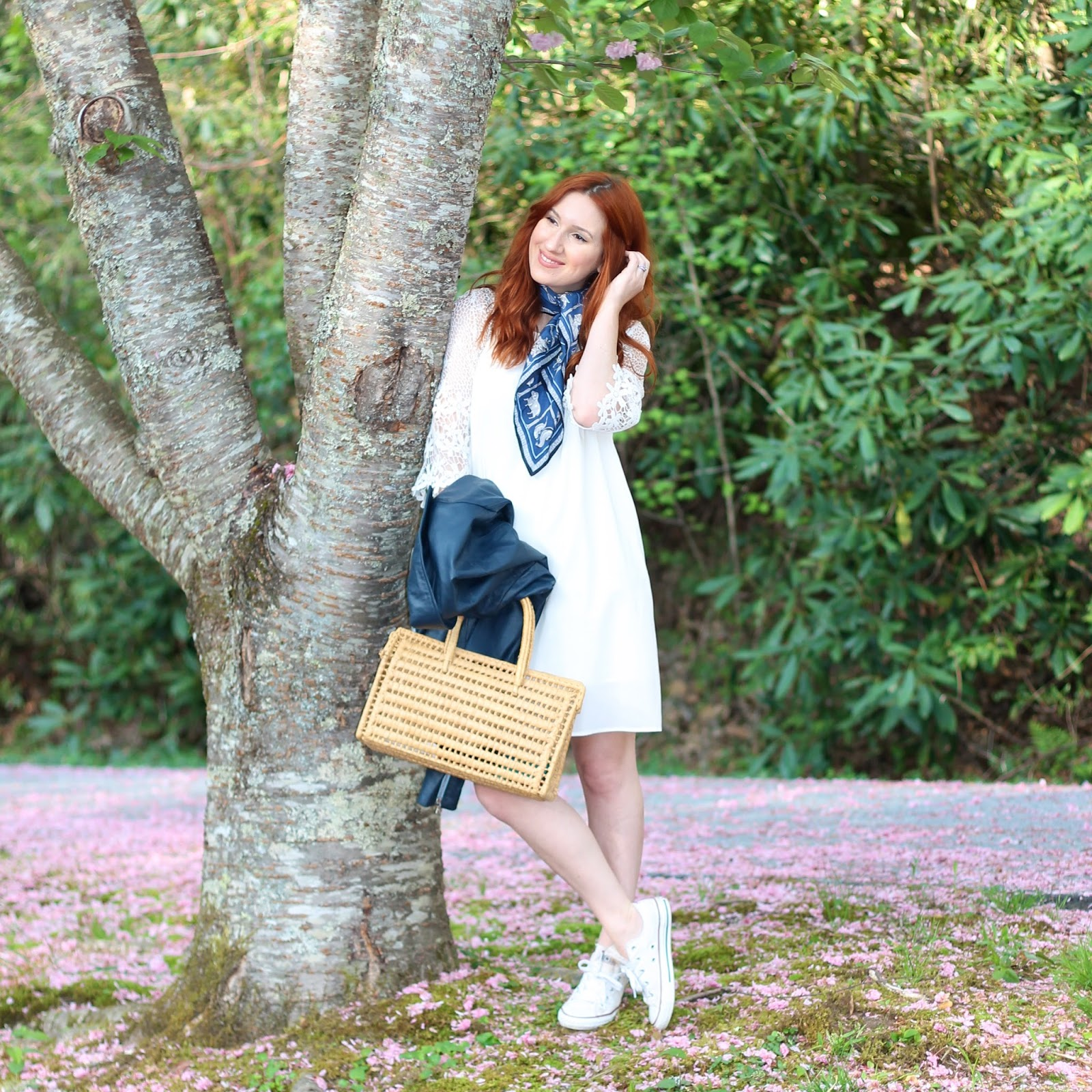 outfits, scarves, how to wear scarves, how to style scarves, little white dress style, little white dress outfit ideas, how to wear sneakers with a dress, sneakers and dresses