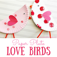 paper plate love birds - Valentines day craft for kids.