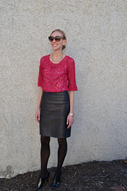 e2a4d872554a Jacket (Target); Dress (Nicole for JCPenney); Skirt (Stolen from Mom);  Tights & Shoes (Kohls); Sunglasses (Charming Charlies); Necklace/Earrings  (Limited)