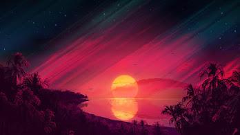 Beautiful, Sunset, Scenery, Landscape, Digital Art, Illustration, 4K, #4.2008