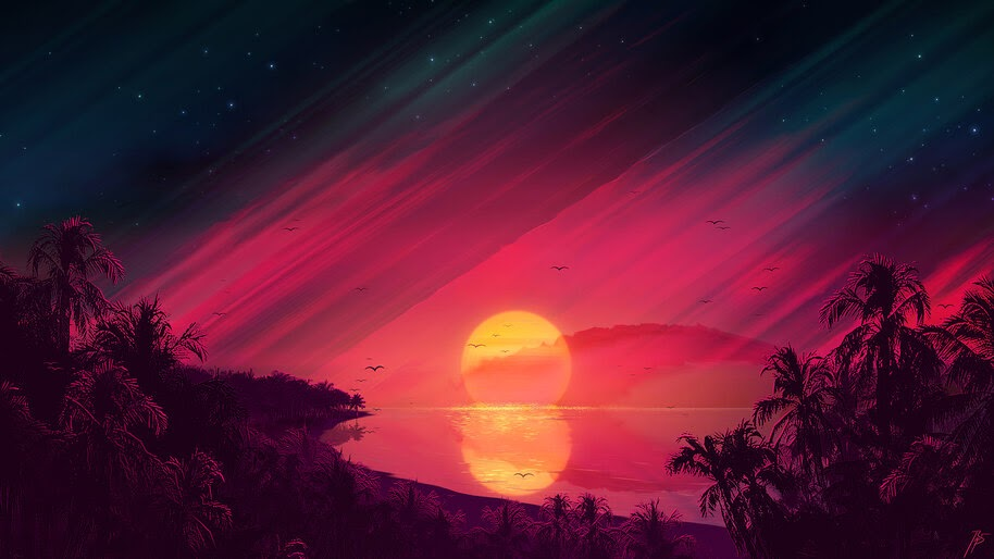 Beautiful, Sunset, Scenery, Landscape, Digital Art, Illustration, 4K, #4.2008