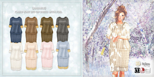 {amiable}Cable_Knit_Set-up_Dress_with_Fur.