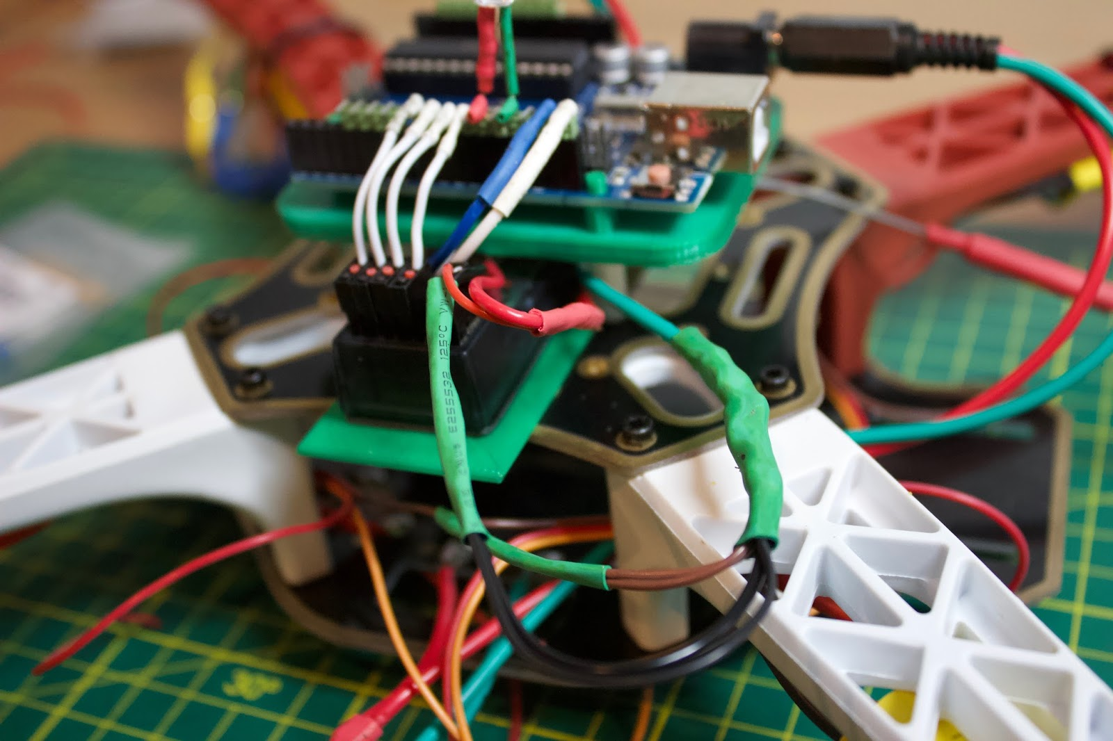 similarly, connect a gnd wiring harness to connect one of the arduino gnd  pins to the receiver, mpu-6050 and esc bec gnd (brown wire - do this if  they