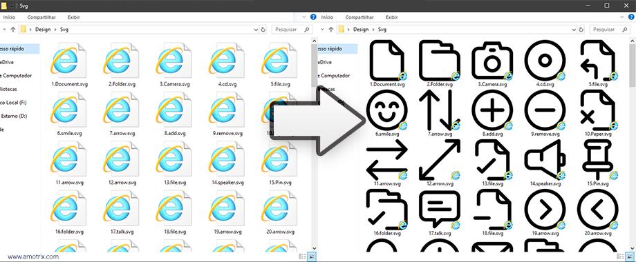 Pré-visualização de arquivos SVGs no Windows Explorer antes e depois