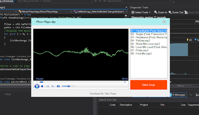 Music Player App Design in Visual Studio