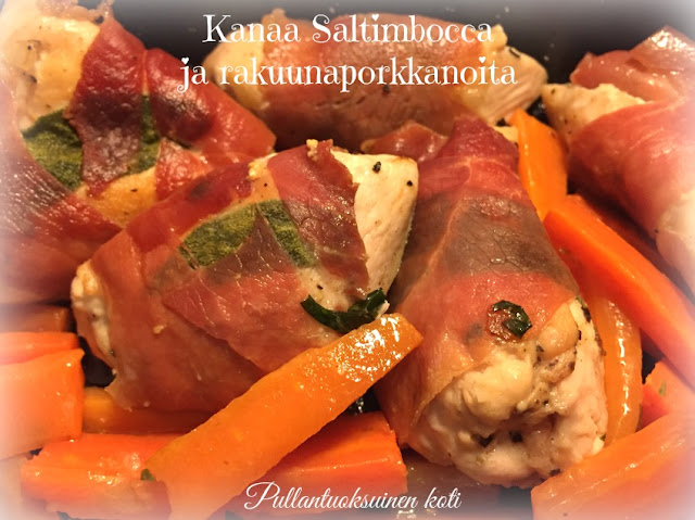 #kanaruoka #kanafile #saltimbocca #rakuunaporkkanat #chicken #chickenrecipe #chickensaltimbocca #serrano #parma #carrots