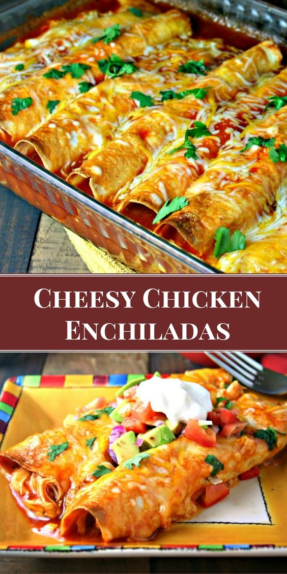 This post has been sponsored by Kroger. All thoughts and opinions are my own.   My favorite enchilada recipe! Loaded with chicken and cheese, these EASY Cheesy Chicken Enchiladas come out of the oven with a slight crunch, which makes them a little extra special.