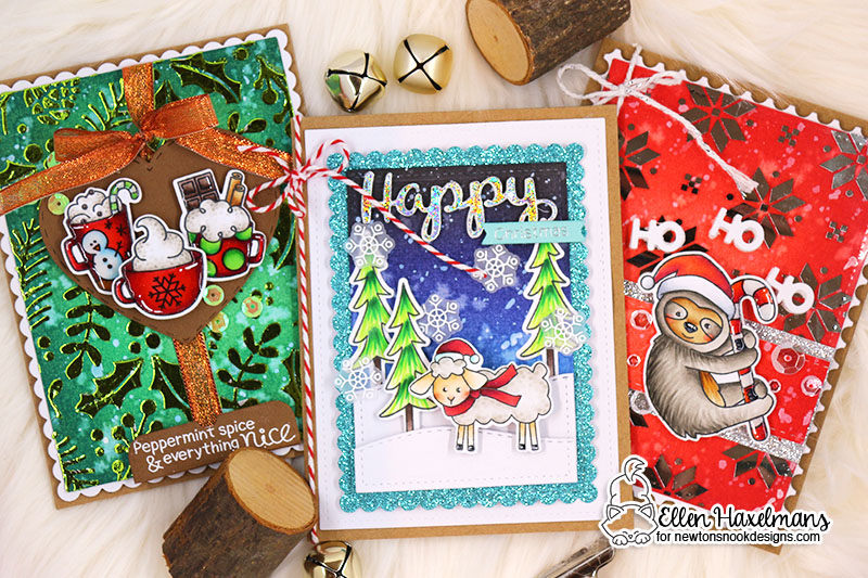 Newton's Nook Designs & Therm O Web Inspiration Week  | Christmas Cards by Ellen Haxelmans using Stamps and Stencils by Newton's Nook Designs and Therm O Web foils #newtonsnook #thermoweb