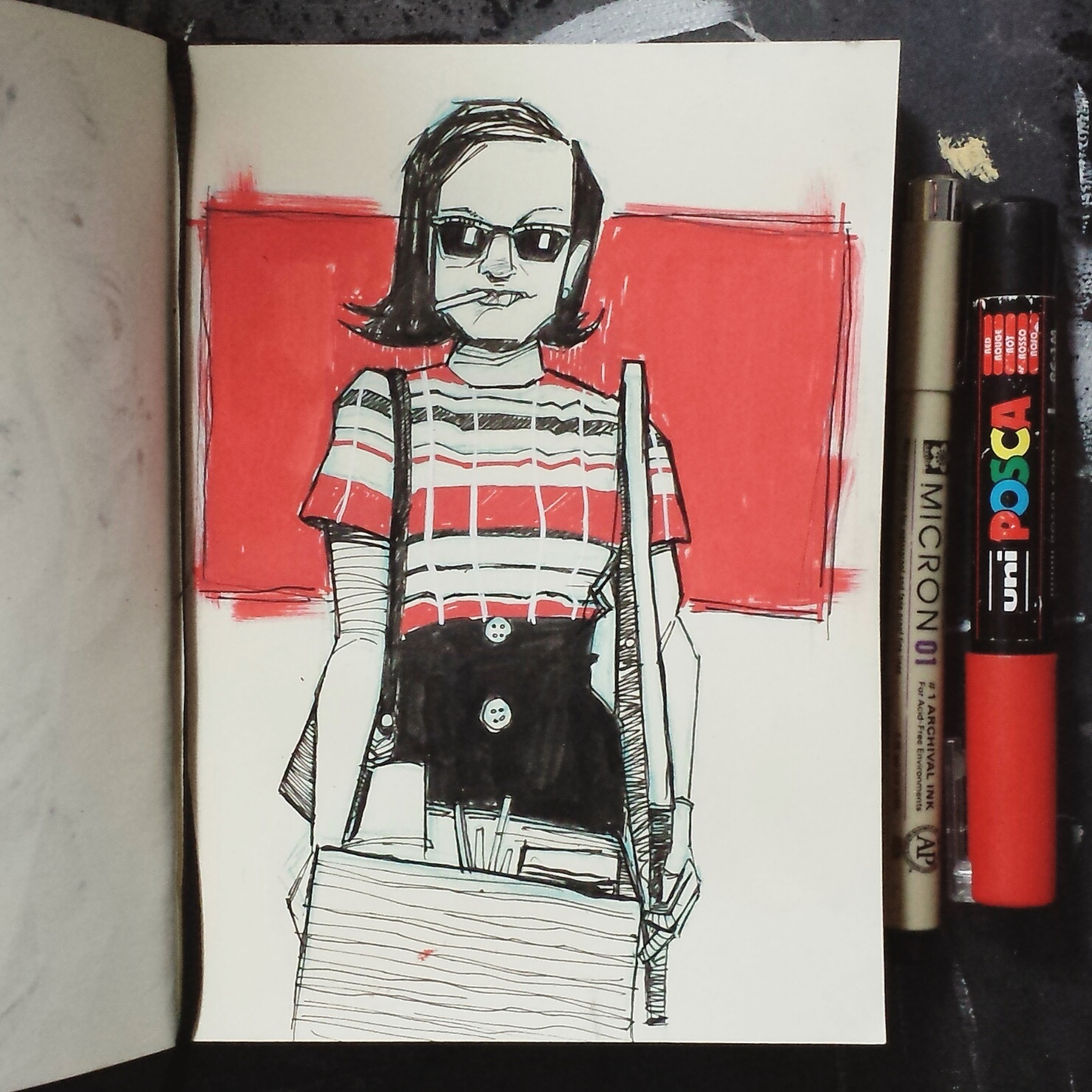 Elisabeth Moss Peggy Olson sketchbook illustration
