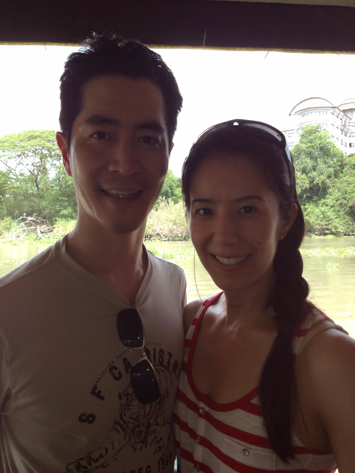 Ayutthaya - Us in front of the river from Pae Krung Kao restaurant