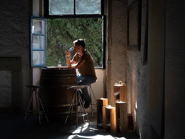 Hombre bebiendo una copa de vino junto a una ventana en una bodega