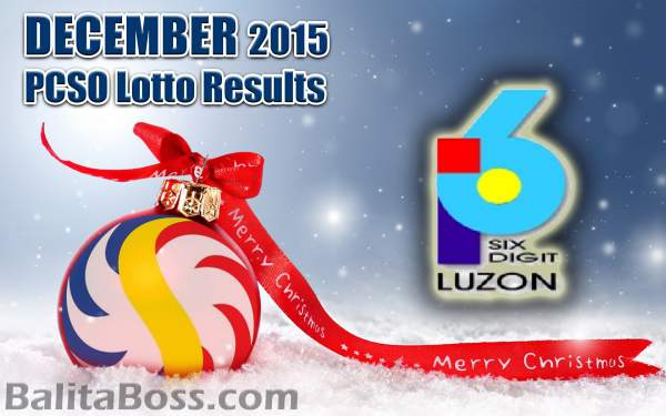 Image: December 2015 6-Digit Game PCSO Lotto Results