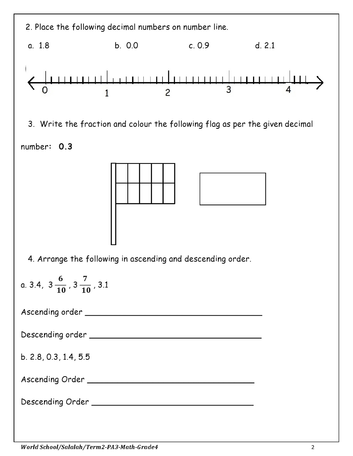 hight resolution of Homework for Grade 4 as on 08/03/2018   WORLD SCHOOL OMAN