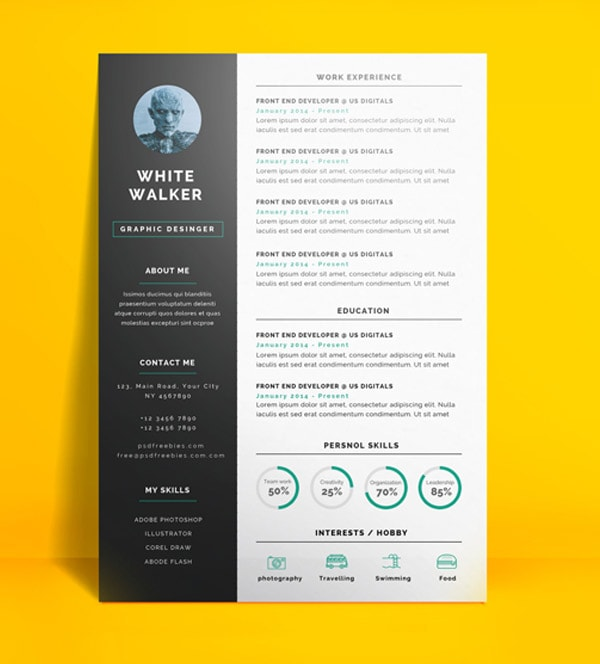 Template Resume / CV Terbaru 2017 - Freebie : Simple and Clean Resume CV Template PSD