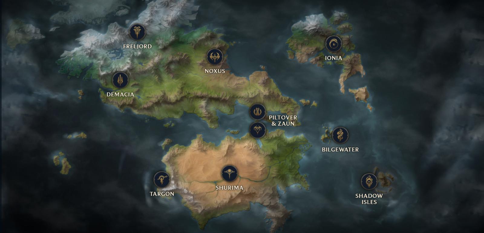 Map Of Runeterra Surrender at 20: Runeterra Map on Universe Map Of Runeterra