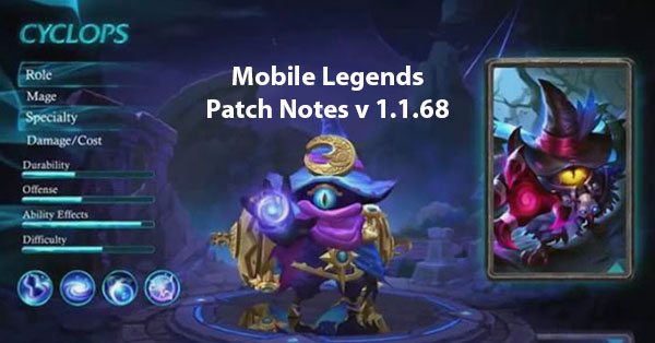 Mobile Legends Patch Notes v1.1.68,  (New Hero, Events, and Balance Adjustments)
