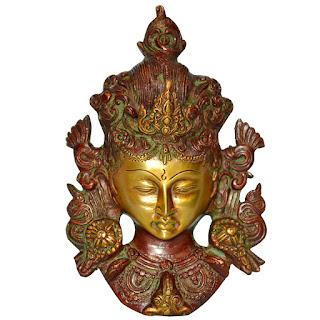 DronaCraft Tara Buddha Head Sculpture Brass Wall Decor