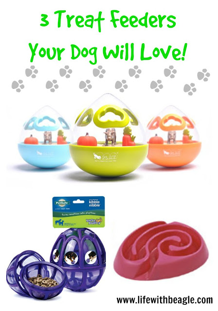 The P.L.A.Y. Wobble Ball, the PetSafe Busy Buddy, The BUSTER DogMaze.