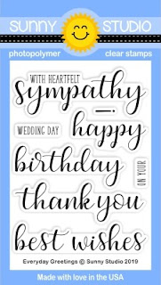 Sunny Studio Stamps: Everyday Greetings 3x4 Photopolymer Sentiment Stamps (including Sympathy, Birthday, Thank You & Best Wishes on Your Wedding Day)