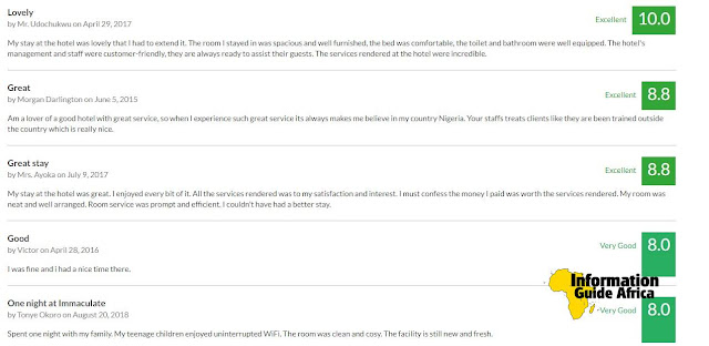 Customer Reviews of Immaculate Royal International Hotel Owerri