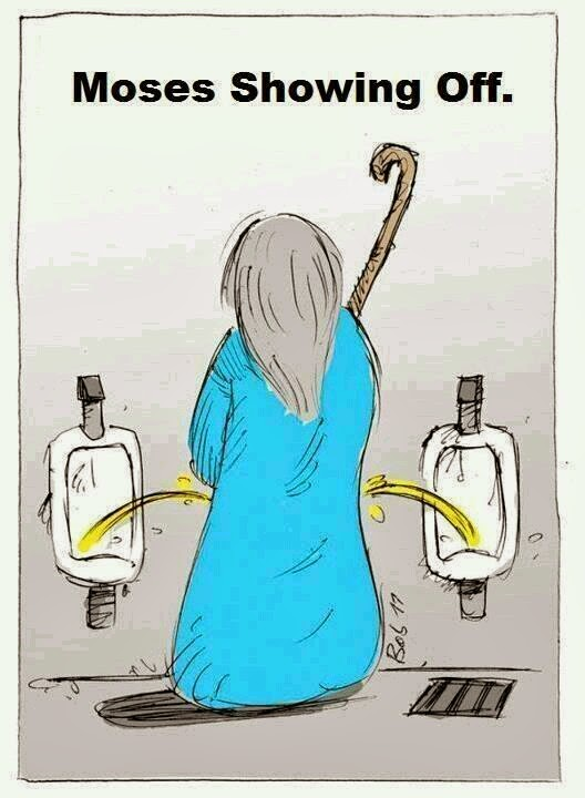 Funny Moses Urinal Showing Off Joke Picture, by urinating in two urinals at the same time