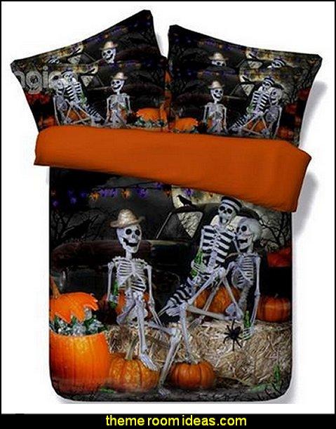 Halloween Skeletons bedding - Halloween decorations - Halloween decorating props - Halloween theme - Halloween decorating ideas - Halloween decor - wall murals halloween haunted mansion - lifesize standing halloween figures - halloween bedding -  HALLOWEEN COSTUMES