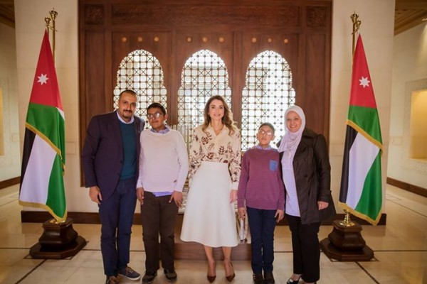 With Queen Rania AlAbduallah in March 2018,  after the launch of Habaybna.net with my husband and sons, Aboud and Amro.