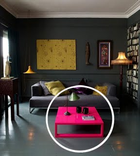 Two Dimensional Design  Emphasis and Focal Point This photo  from an Interior Design Website  shows and obvious contrasting  color  My immediate focus is on the bright pink coffe table  a contrasting  color