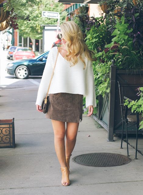 70s outfit with cropped sweater and suede mini