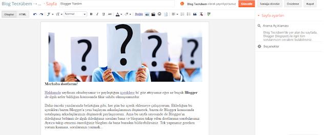 Blogger sayfa kurma ve sayfa url düzenleme