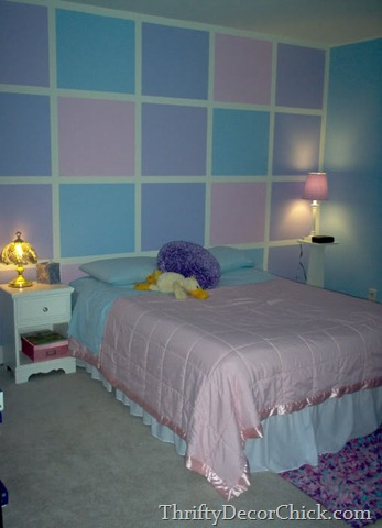 Girl room with squares on wall