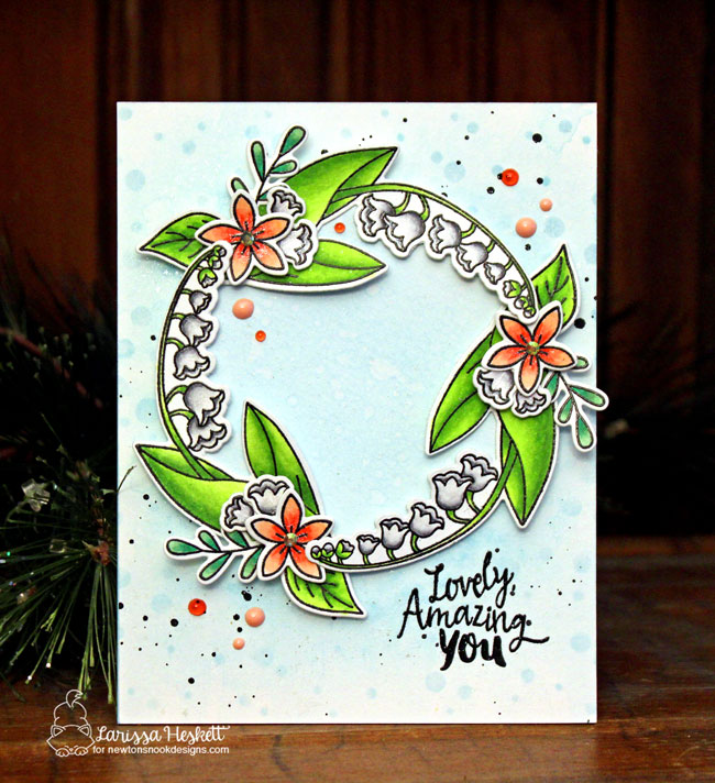 Floral Wreath Card by Larissa Heskett | Little Lilies, Lovely Blooms, and Happy Little Thoughts Stamp Sets by Newton's Nook Designs #newtonsnook #handmade