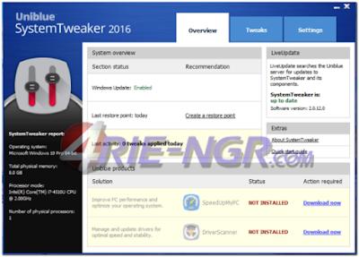 Uniblue SystemTweaker 2016 2.0.12.1 Full Terbaru