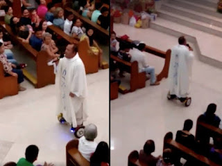 priest using hoverboard in church