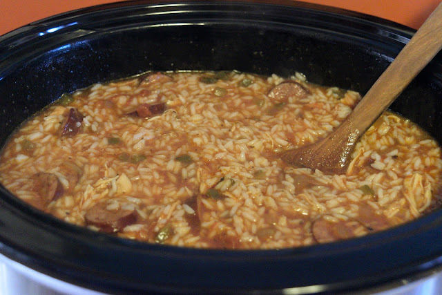 The completed jambalaya in the crockpot.