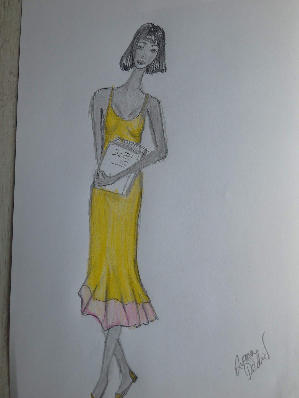 Bookworm Girls Wearing Yellow Dresses ( Fashion illustrations of the day)