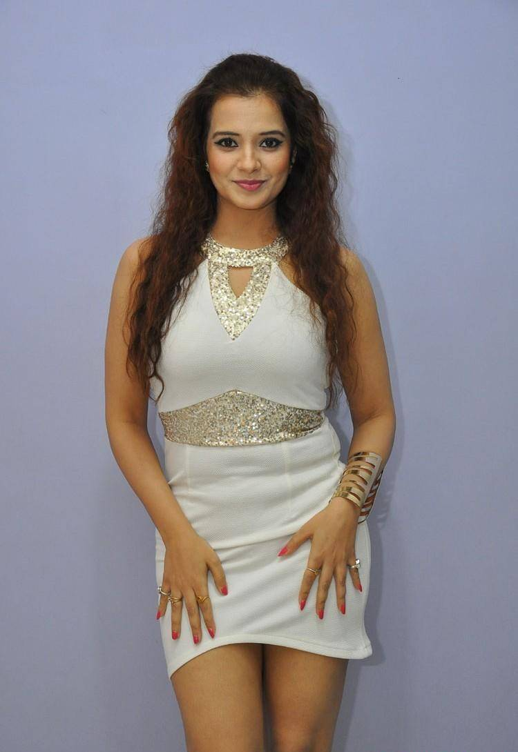 Actress Saloni Long Hair Stills In White Dress