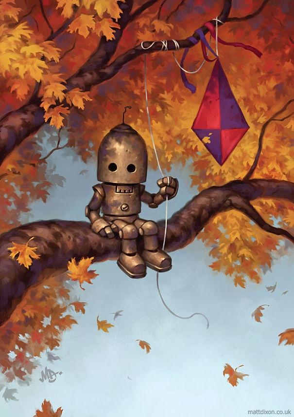 01-Matt-Dixon-Illustrations-of-Lonely-Robots-Experiencing-The-World-www-designstack-co