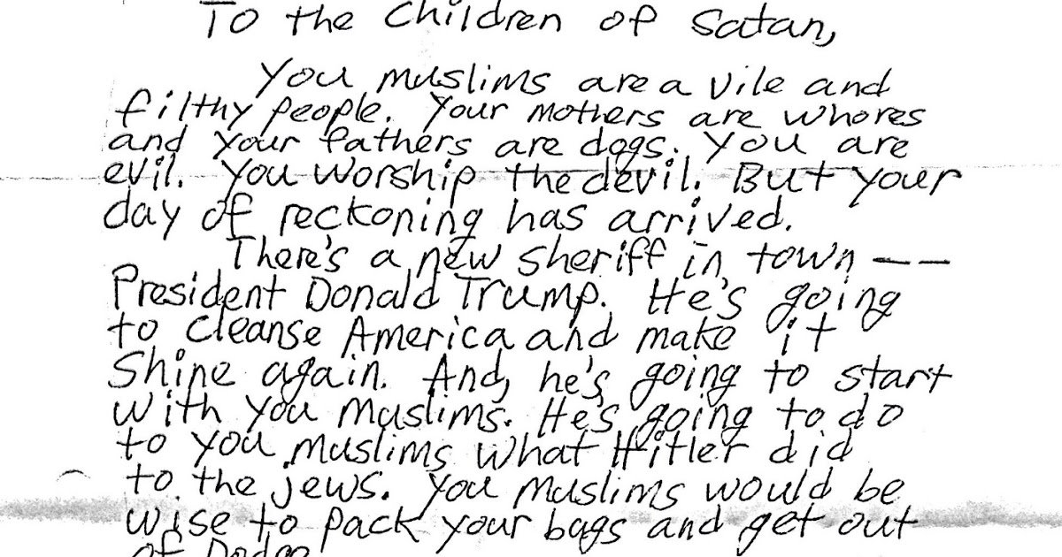 An open letter to the author of the hate letter sent to our local mosque