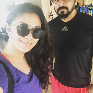 Mana Keerthy Suresh: Keerthy Suresh with Cute and Awesome Smile with her Gym Trainer Latest Selfie